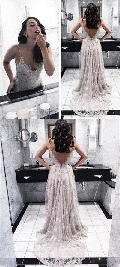 Lace prom dresses, backless prom dress, long prom dress, light purple prom dress, prom dresses shop, online prom dress