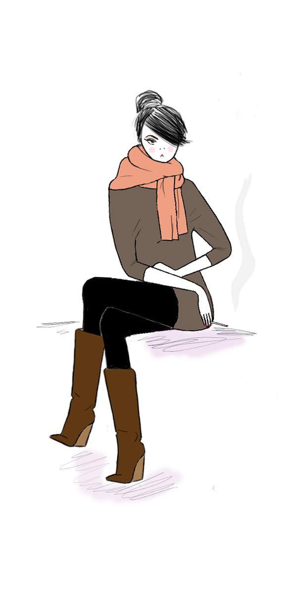 Just girl smoking alone