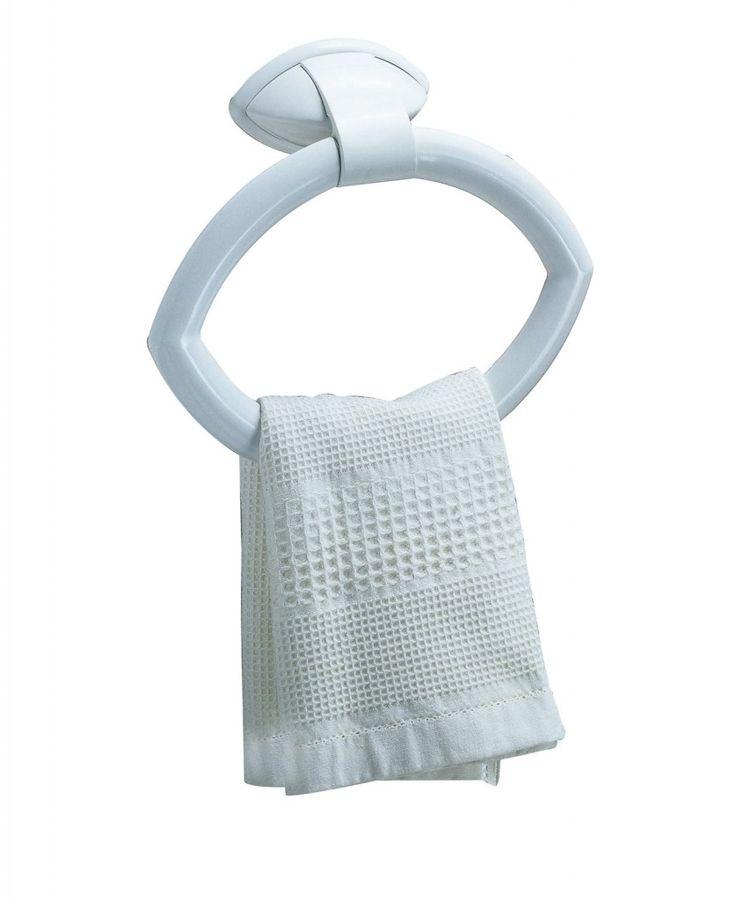 È realizzato in materiale plastico abs bianco il portasciugamani Perla di Bama. A forma di cerchio, misura L 24 x P 6,5 x H 17,5 cm