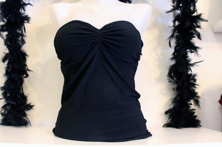 Sütyen Detaylı Siyah Straplez Sırtı Açık Abiye Büstiyer Bluz Kombinleri Bayan Üst Giyim