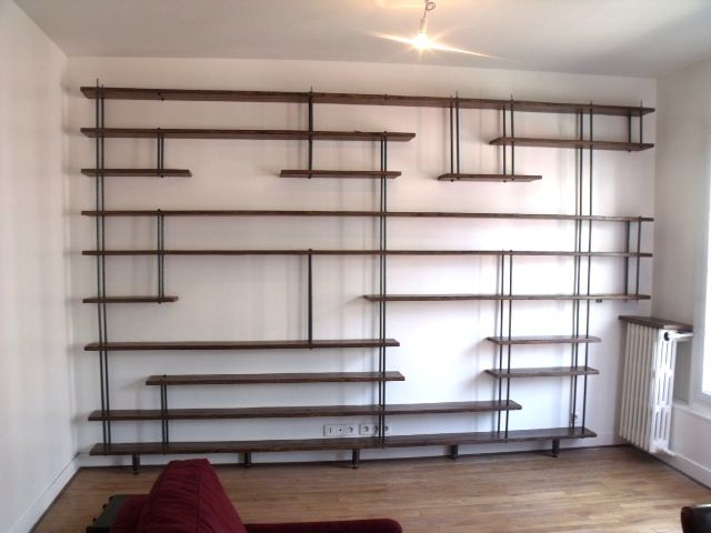 195bibliotheque bois metal sur mesure jpg etag res pinterest shelves salons and shelving. Black Bedroom Furniture Sets. Home Design Ideas