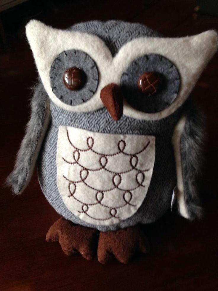 Owl Home Decor St. Nicholas Square Stuffed Animal Plush Wool Button Eyes New Tag