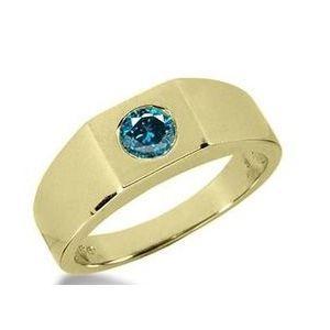 0.50 Karat blauer Diamant Herrenring aus 585er Gelbgold