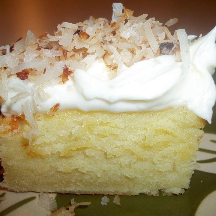 Coconut - Cream Cheese Sheet Cake  http://www.justapinch.com/recipes/dessert/cake/coconut-cream-cheese-sheet-cake.html?p=5 Check out other recipes on this site too.