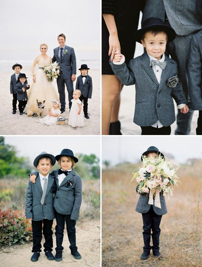 Ring bearers with tweed jackets, vests + HATS from Zara - Shipwrecked Winter Beach Wedding: Cortnie + Donny - Part 2 captured by Jose Villa Canvas & Canopy Events (Event design + styling) - via greenweddingshoes