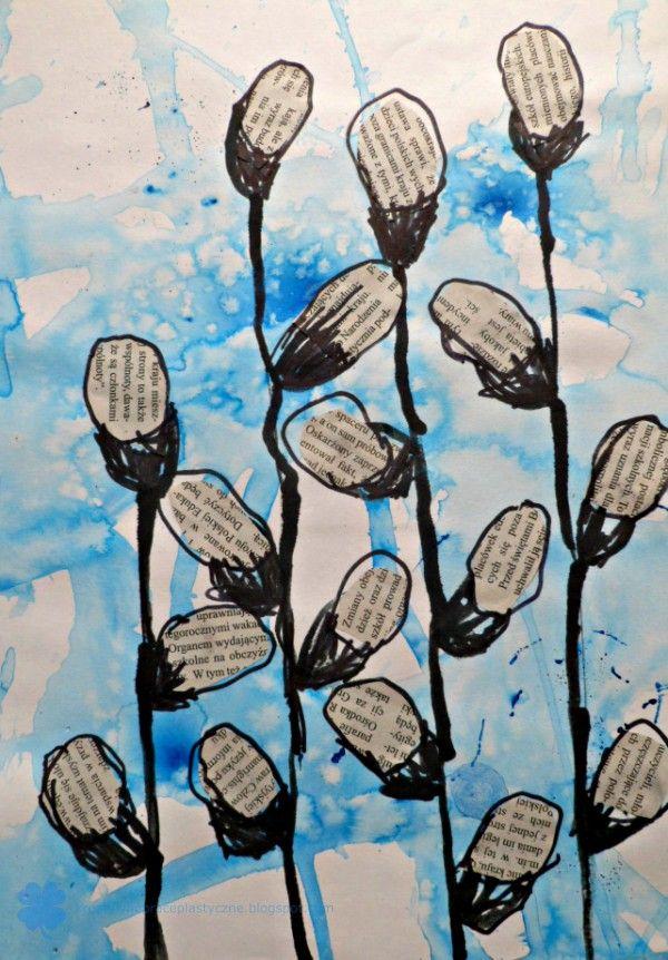 Praca Plastyczna Bazie Rysowanie Patykiem I Tuszem Spring Art Projects Spring Art Kids Art Projects