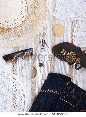 fashion blogger concept. set of Feminine accessories
