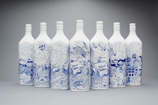 NiceJohnny Walker, Blue, Illustration, Packaging Design, Keep Walks, Special Editing, House, Editing Bottle, Bottle Art