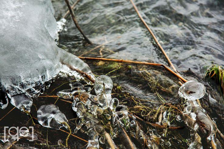 Frozen water drops in a lake side, Danish winter - Photograph by Qe-grafik
