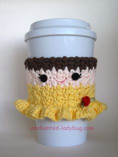 Free crochet belle coffee cup cozy pattern. Add to your crochet Disney Princess cup cozy collection. Free crochet pattern pdf download.