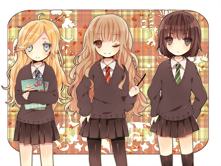 harry potter anime | Luna Lovegood, Hermione Granger, Pansy Parkinson