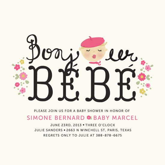 """special prize winner: minted baby shower invitation, """"bonjour bebe"""" by pistols. we can envision an entire french themed shower around this delightful design!"""