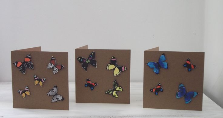Set Of 3 Blank Cards and Envelopes with Handpainted 3D Butterflies by MissKatysVintageShop on Etsy