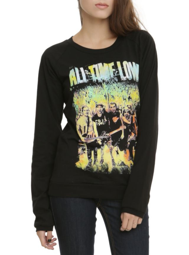 Black pullover top from All Time Low with a colorful live group design.