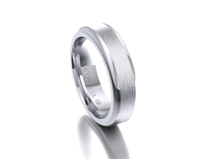 MÜZCINA Collection by JJBückar - BX32-H-100-X-XX-XX-PLT-BX, Brushed Finish, Platinum, Men's, Wedding Rings, Wedding Bands, Designer, Luxury, Deluxe, Unique, Modern, Custom, Precision Machined