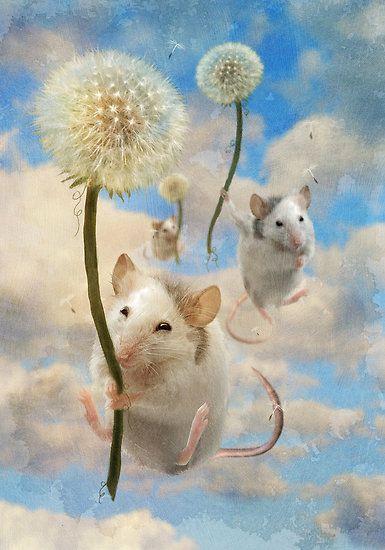 Mice riding dandelions
