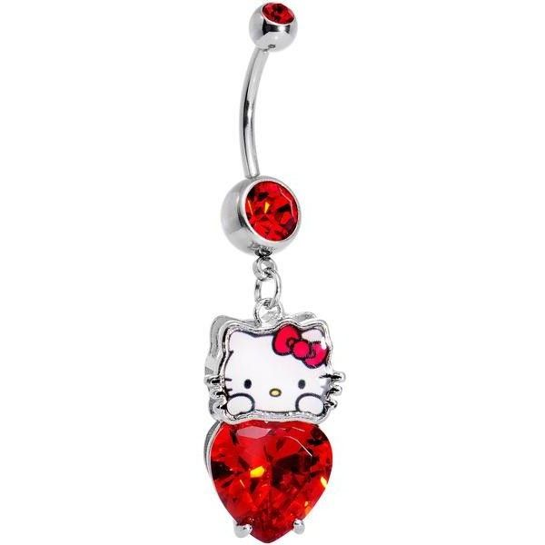 Officially Licensed Hello Kitty Red Gem Heart Dangle Belly Ring ❤ liked on Polyvore featuring jewelry, gemstone jewelry, hello kitty jewelry, body jewellery, red jewelry and gemstone jewellery