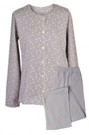 MUZZY nightwear, Piżama bawełniana rozpinana w kolorze beżowym w delikatne groszki. Spodnie długie beżowe. Więcej na www.muzzy.pl/sklep