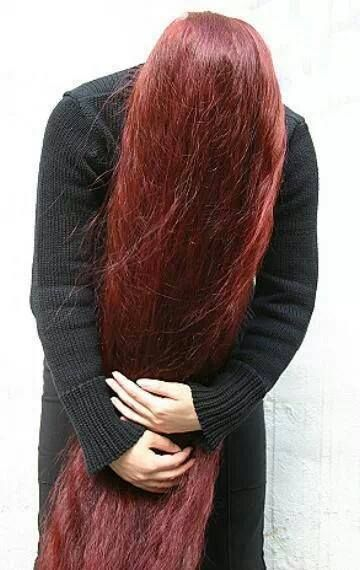 long red henna hair