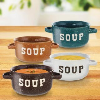 """by Smart Living Company Warm up next to the fire with a hearty bowl of soup! This set of 4 speckled soup bowls with handles are a colorful addition to your kitchenware. Makes a great gift too! Each bowl is 7.25"""" x 5.25"""" x 3"""" high and weighs 1 lb. California Prop 65  www.allgooddecor.com/shop.html #allgooddecor #decorations #gifts #candles #toys #discount #furniture #candleholders #home #figurines #lighting #pictures #mirrors #jewelry #garden #clearance #kitchen #bedandbath #wallart"""