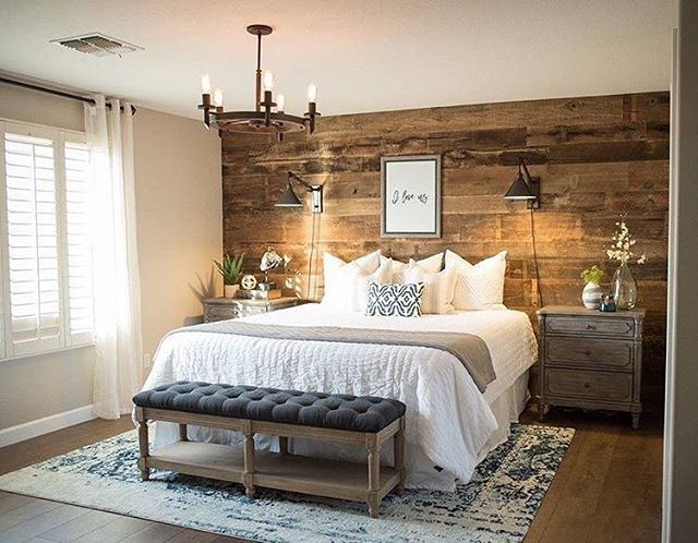 Barnwood Accent Wall Master Bedroom Inspiration Rustic Bedroom White Bedding Hardwood Floor