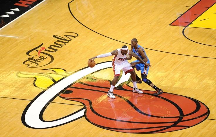 Lebron James (Miami Heat) takes on Kevin Durant (Oklahoma City Thunder) during the NBA Finals