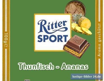 RITTER SPORT Fake Schokolade Thunfisch-Ananas