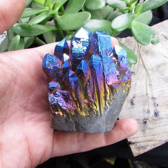 Rainbow titanium aura quartz crystal cluster - galaxy bedroom psychedelic decor hippie goth home nu goth hippy gifts housewarming iridescent