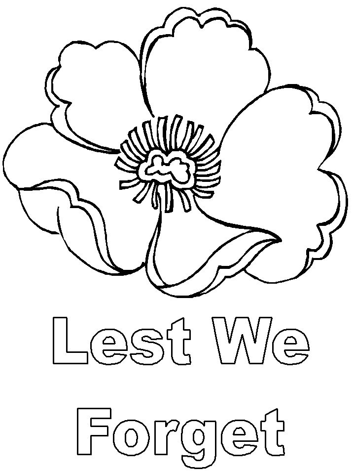 Lest We Forget Colouring Page