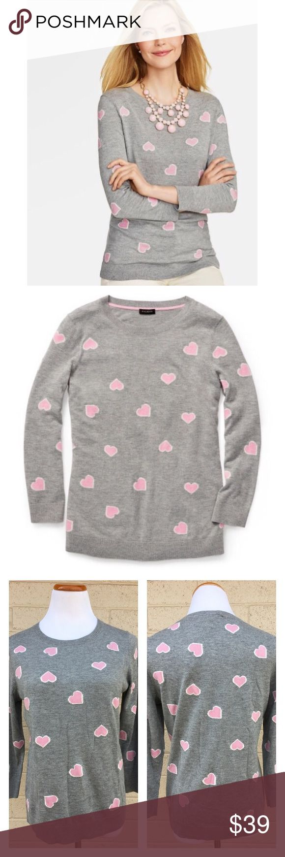 """NWT Talbots Heart Sweater Limited Edition Brand New with tags Talbots gray heart sweater in support of the National Breast Cancer Foundation!  🎀Features🎀 Round neck • 3/4 sleeves • Soft, light material.  -Underarm to underarm: 19.5""""  Length: 24.5""""  Shoulder to sleeve cuff: 19"""" Talbots Sweaters Crew & Scoop Necks"""