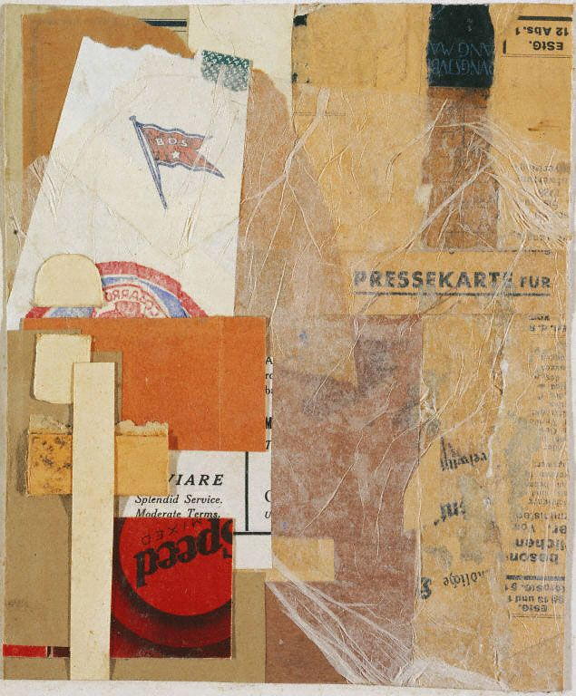 """Milwaukee"" by Kurt Schwitters, 1937; paper collage mounted on illustrated cardboard"