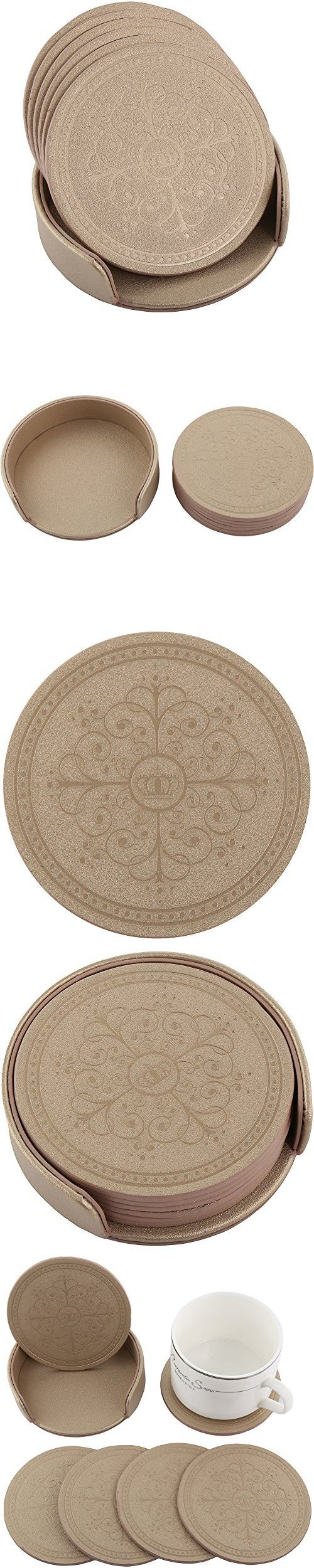 HappyDavid Leather Round Placemats Cup Mat Set of 6 with Coaster Holder for Fine Wine Beer or Any Beverage Use on Bars or Fine Furniture in Your Kitchen(Gold round)