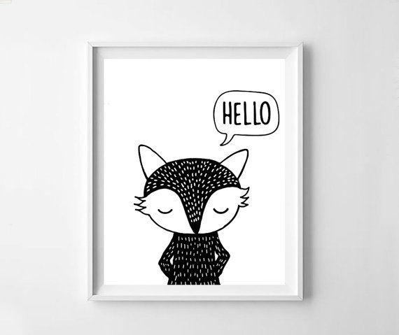 Fox baby fox cute fox black fox fox print fox printable