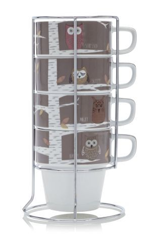 Buy Set Of 4 Owl Mood Stacking Mugs from the Next UK online shop