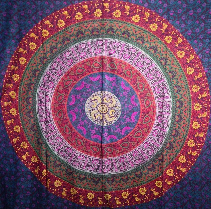 Multicolores mandala hippie indien d coration murale motif for Decoration murale mandala