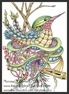 """""""Sparkle Hummer"""", ACEO, 2.5 x 3.5 inches, Micron Pen, Inktense pencils and clear star glitter pen on watercolor paper."""
