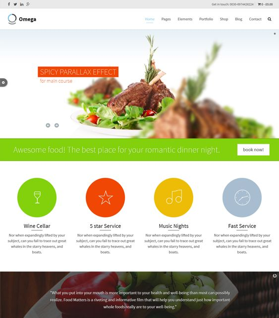 This restaurant theme for WordPress offers a responsive layout, Google Fonts, a Bootstrap framework, WooCommerce, bbPress, and WPML compatibility, Font Awesome icons, a drag and drop page builder, and more.