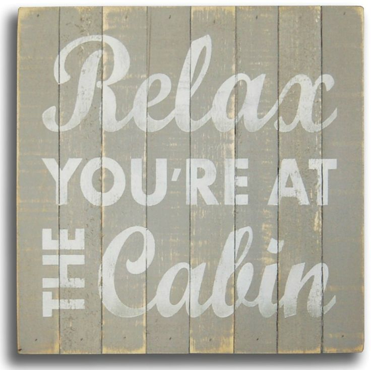 "Square soft-gray, hand painted  lake sign with colored simple quote """"Relax You're At the Cabin"""".These lake house signs are made from rough slats pieced together to form the top of the box and  have"