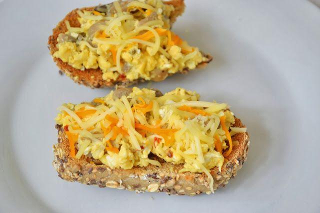 Scrambled Eggs and Mushroom Bruschetta