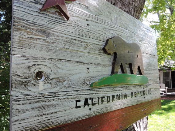 3D, Distressed, California Flag, wall art, reclaimed wood, the golden state, weathered, hand made, home decor by CraigMoodieDesigns