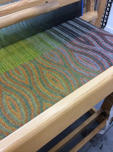 This post has two photos. Both have the same warp threads. One has orange weft. One has blue weft. The resulting fabrics look so different. Always amazed by this.