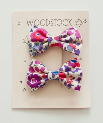 Woodstock London Mini Bow Clip, D'Anjo Pink