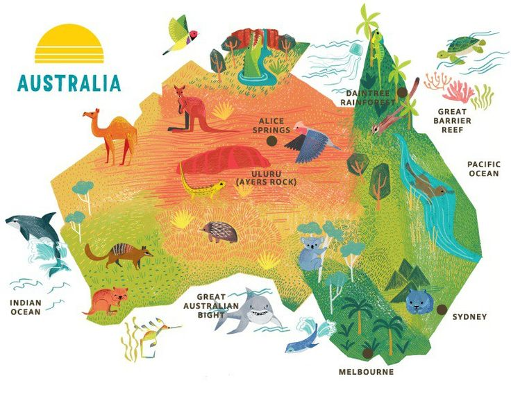 Bildergebnis für illustrated map of australia