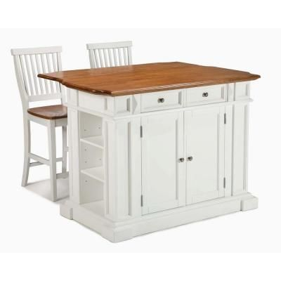 Home Styles Kitchen Island in White with Oak Top and Two Stools-5002-948 at The Home Depot 729.00