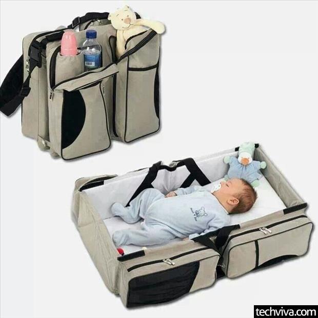 3-in1 Diaper Bag/Travel Bassinet-Black - http://99viral.com/simple-ideas-that-are-simply-genius-part-14/