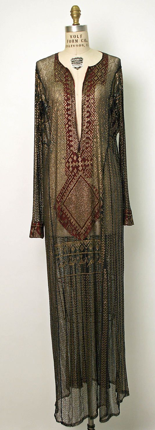 19th century Egyptian dress of Assuit. Assuit is a textile marrying cotton or linen mesh with small strips of metal, with its origins dating back to Ancient Egypt.