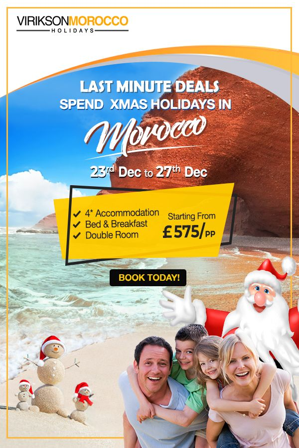 Are you Planning to escape during this holiday season? Virikson Morocco Holidays have a good deal for you this XMAS to experience the romantic charm of Morocco!  For Booking Call us at 020 37455788 and you will get an amazing experience of a wonderful journey in Morocco.  #Holidays #Traveling ‪#Winterholidays #Moroccotravel #Adventures #Travel #Morocco #ChristmasGifts #HolidayDeal #Christmaspackage #Christmasdeal #Christmasspecial #LuxuryTours #ViriksonMoroccoHolidays #MoroccoHolidays