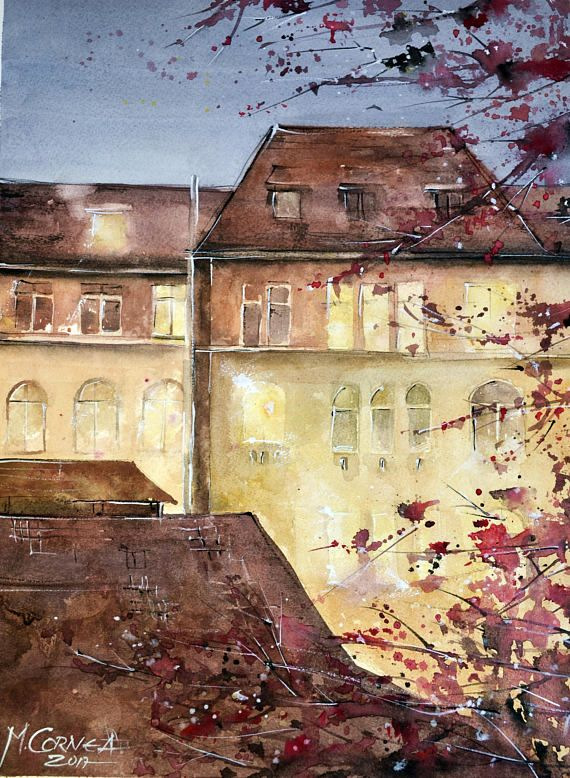Friday evening view  watercolor painting by Maria Cornea