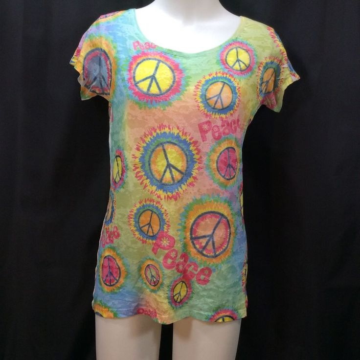 S M Womans Tshirt Tie Dye Peace Hippie Symbols Music Festival Cap Sleeve Fun #LOLVintage #GraphicTee