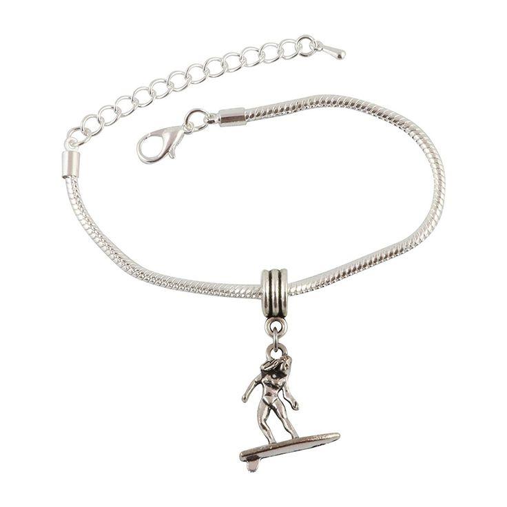 Female Surfer Snake Chain Charm Bracelet